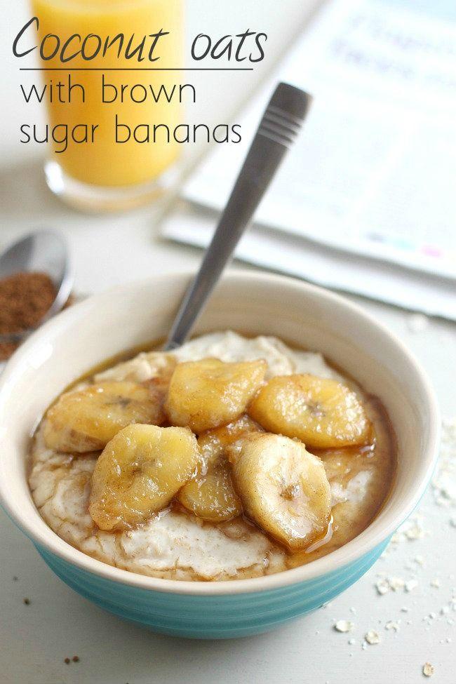 Coconut oats with brown sugar bananas
