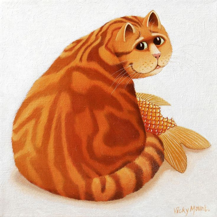 ARTFINDER: Koi Cat by Vicky Mount - Caught red handed at the scene of the crime.