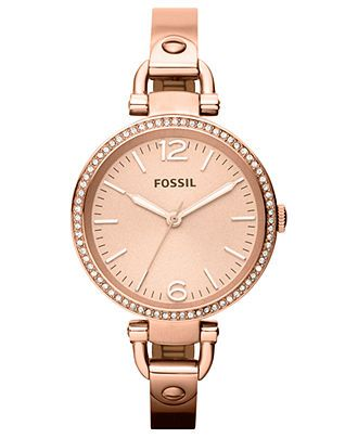Fossil Watch, Womens Georgia Rose Gold-Tone Stainless Steel Bangle Bracelet 32mm ES3226 - All Watches - Jewelry & Watches - Macys