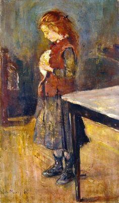Edvard Munch, Una ragazza con i cappelli rossi con un ratto bianco , 1886..jpg on ArtStack #edvard-munch #art