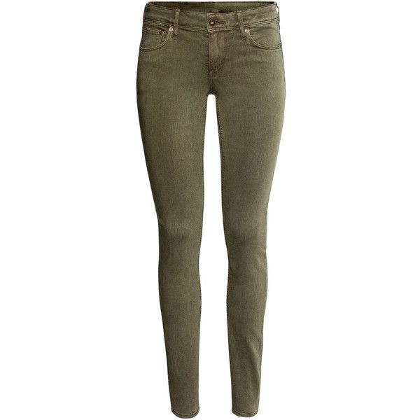 H&M Skinny Low Jeans ($18) ❤ liked on Polyvore featuring jeans, pants, bottoms, pantalones, trousers, khaki green, low rise jeans, low jeans, brown jeans and khaki jeans