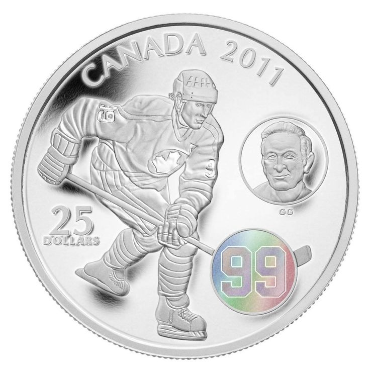 Canada 25 Dollars Silver Hologram Coin 2011 Wayne Gretzky & Walter Gretzky