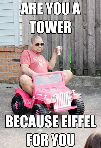 Don't know what's funnier the pick up line or the guy in the Barbie jeep