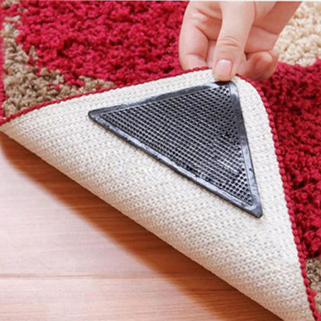 Rug Carpet Mat Grippers Non Slip Reusable Washable Silicone Grip Skid Silicone Bath Living Room Anti Skid Pads 4 Pcs Re Rugs On Carpet Washable Rugs Carpet Mat