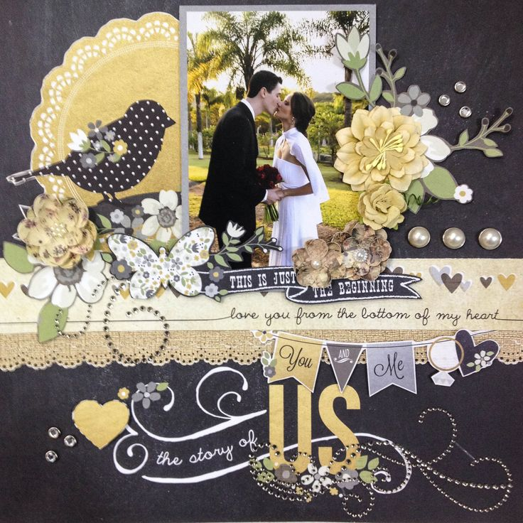 The Story of Us - Scrapbook.com- using the Simple Stories : The Story of US collection. Versatile layout for most weddings and romance.