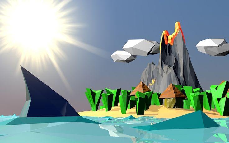 File 3D realizzato con Cinema 4D, pronto per il download gratuito. La scena raffigura una rappresentazione LowPoly ispirata alle Hawaii!