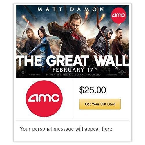 AMC Theatres The Great Wall Gift Card - E-mail Delivery