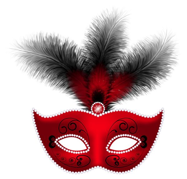 Red Feather Carnival Mask PNG Clip Art Image