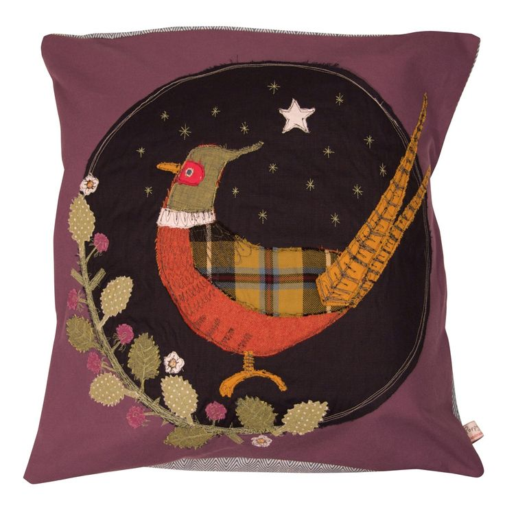 pheasant - embroidered cushion - Size