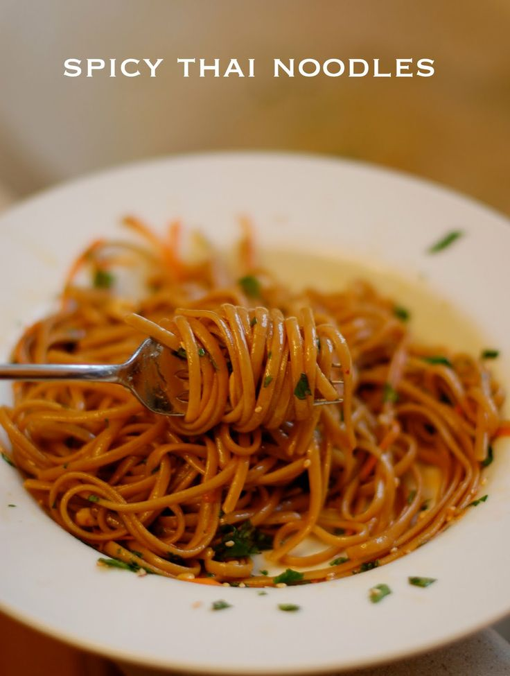 Spicy Thai Noodles: Asian Inspiration, Thai Food, Red Peppers, Noodles Recipe, Sesame Oil, Spicy Thai Noodles, Soy Sauces, Rice Noodles, Peanut Butter