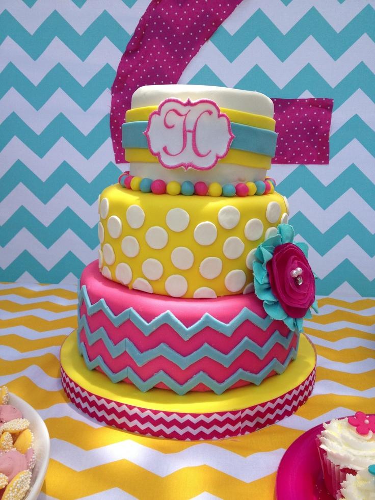 Chevron Cake love the colors