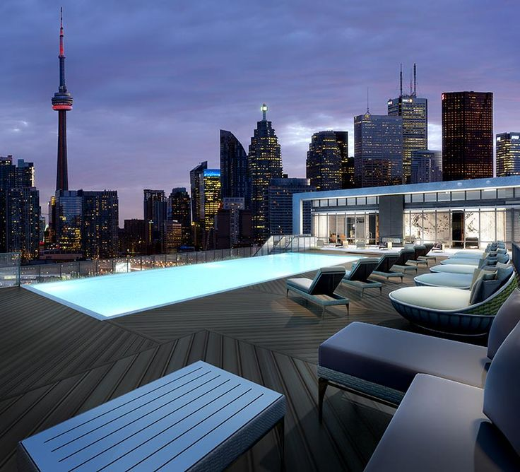 Enjoy stunning views of the Toronto skyline in the evening from Aqualina's rooftop pool and lounge.