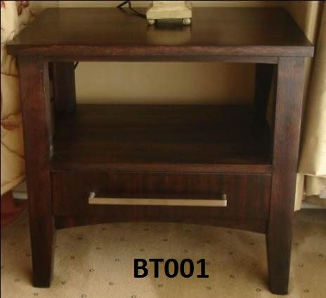BT001 bed side pedestal with one drawer on ball bearing slides .