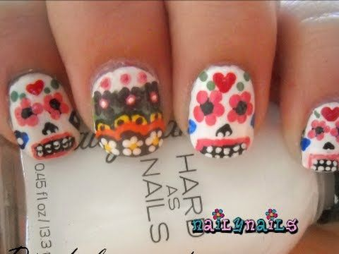 Día De los Muertos decoración de UÑAS - Day of the Dead Nails - YouTube