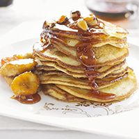 Buttermilk pancakes with sticky bananas and Brazil nuts