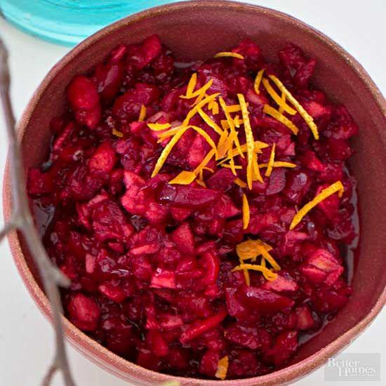 Take an assist from your food processor to whip up this fresh cranberry sauce for Thanksgiving dinner. An apple and an orange, plus a bit of sugar, help to sweeten things up.