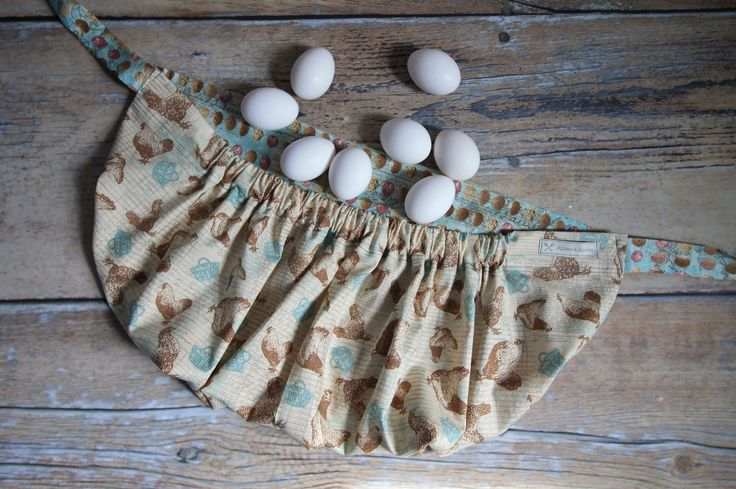 Egg gathering apron brown amp turquoise egg basket amp chickens