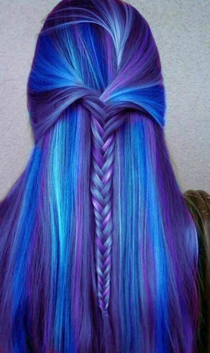 Blue and Purple Hair color Whoa! I would never do this for myself, but look at the colors! #braid #hairstyle