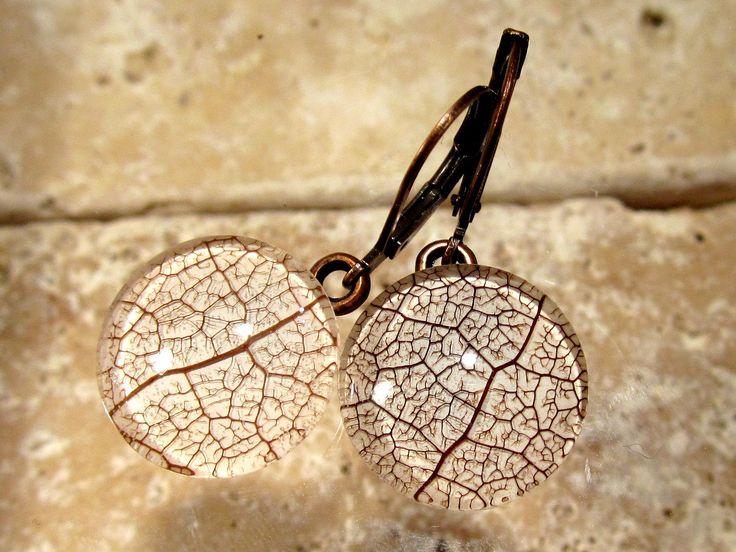 Skeleton Leaf of Salal Circle Glass Earrings, leaf jewellery, woodland, rustic, antique copper, brown, nature, forest, Antique Copper  #woodland #forest #nature #salal #leaf #leafjewelry #plantjewelry