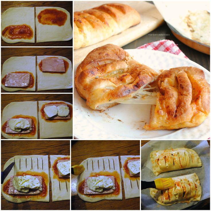 fagottini di pizza con prosciutto e mozzarella