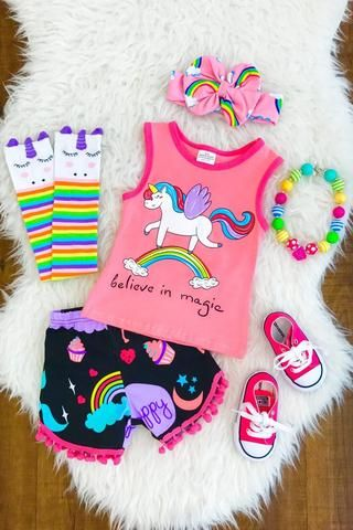 Rainbow Unicorn Pom-Pom Shorts 2PC Set