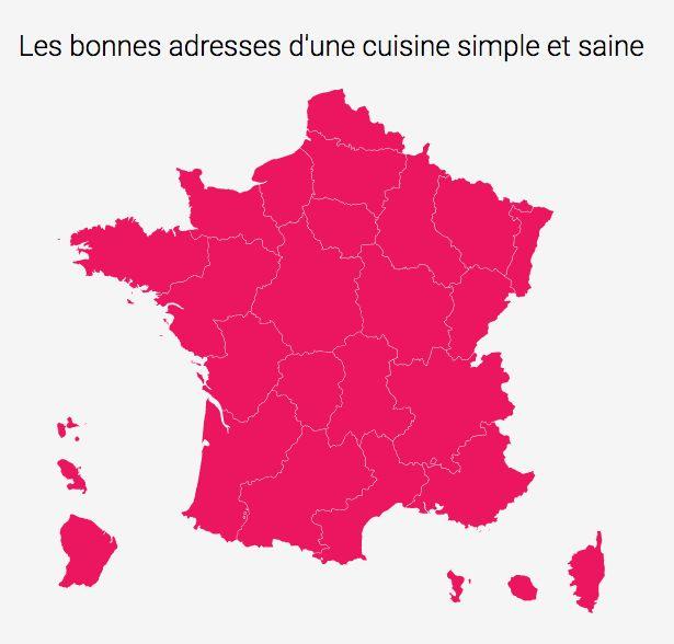 95° CREE SON GUIDE CULINAIRE  Grâce à cette carte de France, trouvez en quelques clics LA MEILLEURE ADRESSE près de chez vous !   Les adresses du Guide ont été sélectionnées par nos soins et répondent à des critères bien précis.  Le Guide 95° n'est pas seulement un carnet d'adresses ; il va plus loin en proposant un descriptif détaillé : interview, recette et/ou vidéo des chefs en pleine action !  https://95degres.com/addresses