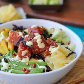 Ahi Poke Sushi Bowls with Wasabi Mayo | TheRoastedRoot.net #healthy #dinner #recipe #glutenfree