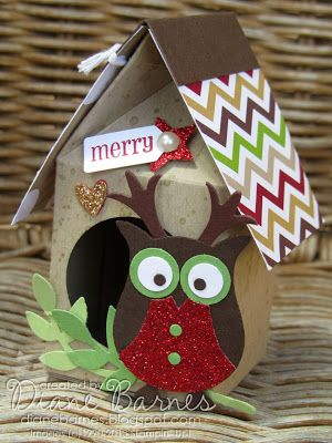 Stampin Up milk carton Christmas owl houses byDi Barnes - colourmehappy #stampinup #Christmas #colourmehappy