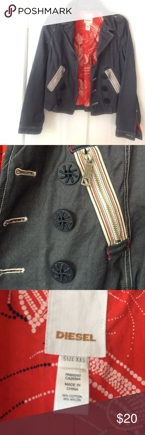 Diesel, denim looking heavy cotton jacket Diesel, denim looking jacket, one button is missing in the front (when worn open it is not noticeable). Zippered (logo) front pockets. Beautiful lining. Unfortunately there is a stain on the back (see photo) I have some cool patches that would match this jacket I could sew over it. I was almost thinking about making it into a vest being the sleeves do not fit me correctly. If interested please ask about covering the stain. I will lower the price sold…