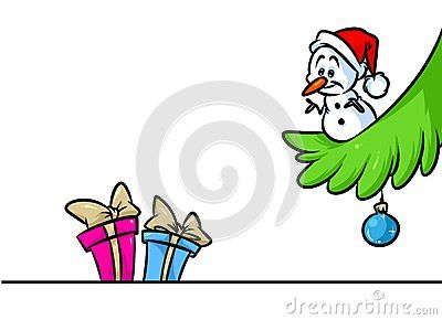 Christmas snowman little character gifts tree branch cartoon illustration isolated image