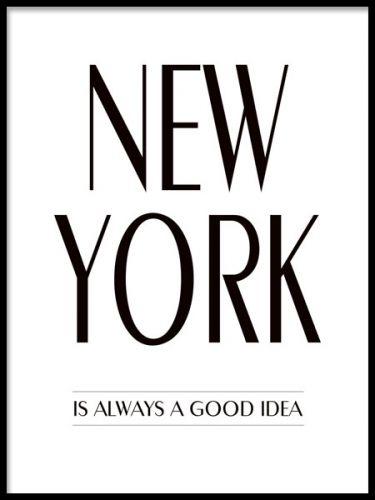Poster med text, New York citat.