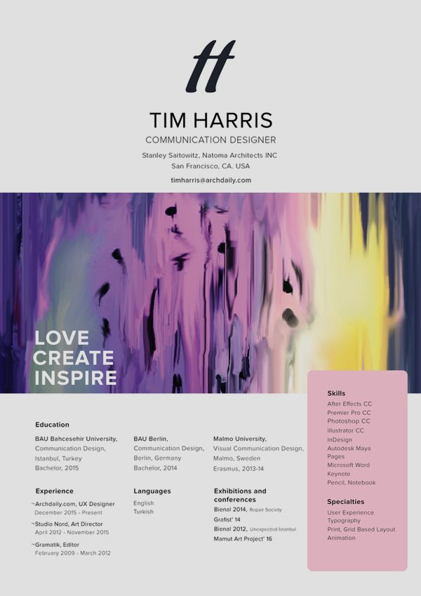 graphic designer resume 2015%0A The Top Architecture R  sum   CV Designs Submitted by turgut
