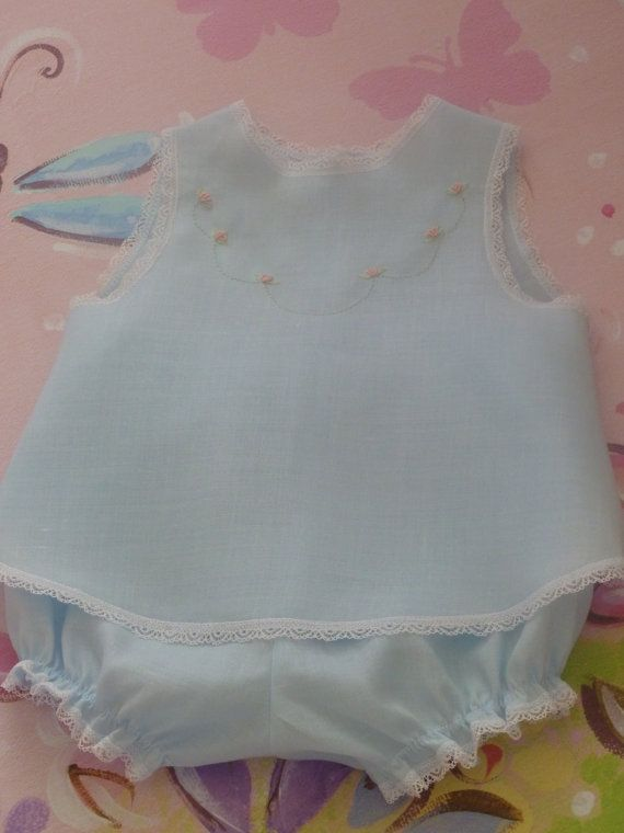 Blue Linen Baby Dress and Panty Cover by justforbabyonetsy on Etsy, $43.00