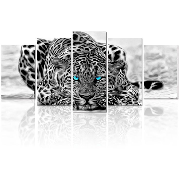 "Black and White Animal Canvas Wall Art,Abstract Leopard Canvas Prints with Frame,Attractive Leopard Picture Decorative,Easy Hanging On,More Size Optional (16 (10""x16""x2+10""x20""x2+10""x24""x1)"