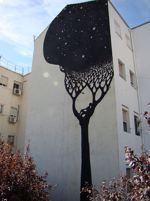 tree-dreaming: Wall Art, Trees Art, Building, Urban Art, Street Art, Trees Murals, Painting, Night Sky, Streetart
