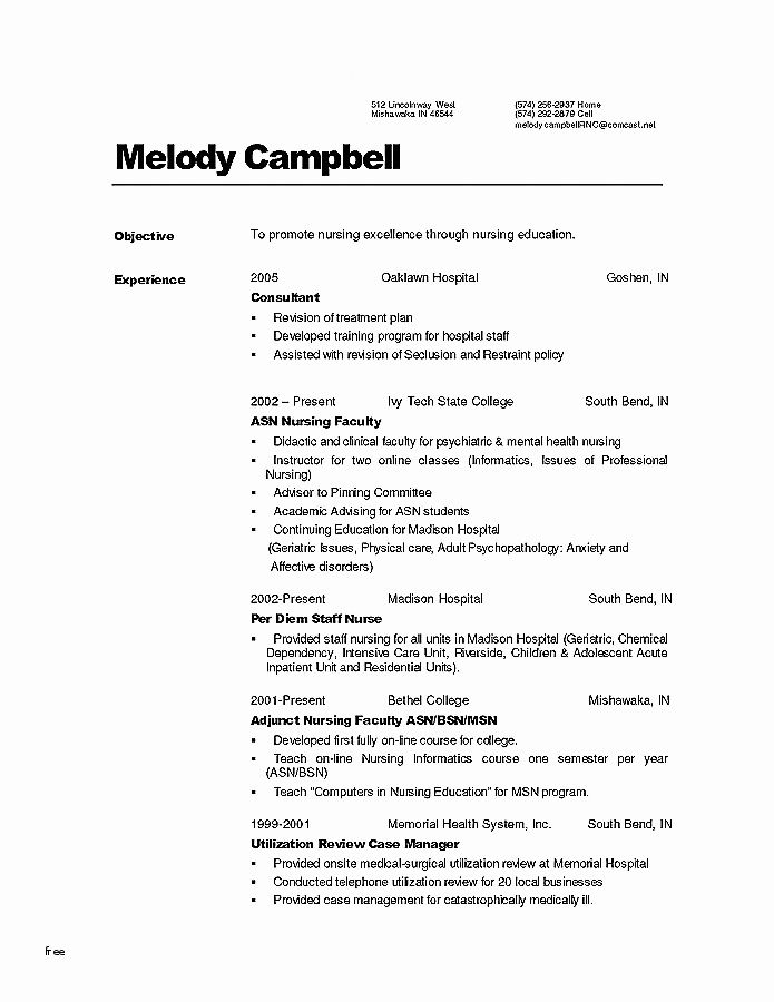 Nursing Resume Objective 72 Best Of Photos Of Resume Examples For 1 Year Experience