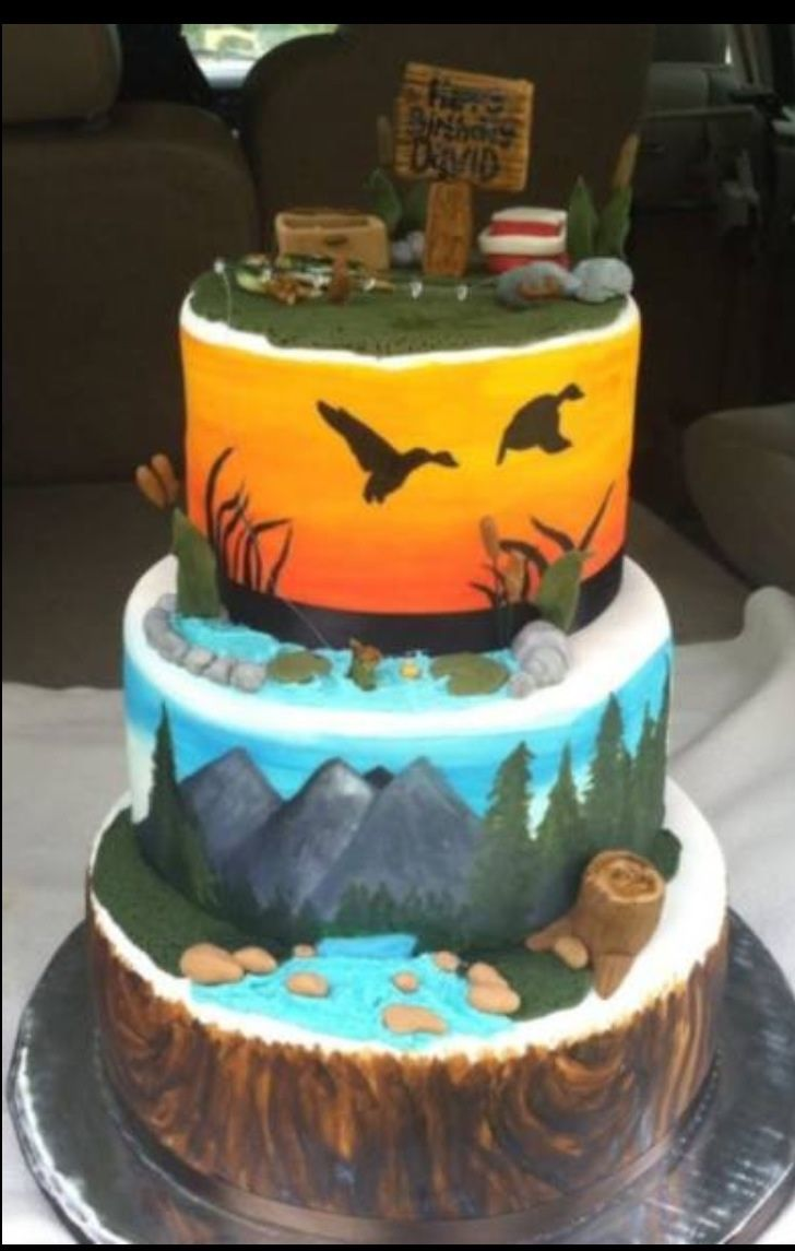 Hunting and Fishing Cake - All tiers are hand painted on MMF. Fondant detail.