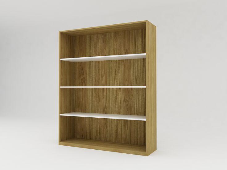 Minimalist modern furniture - Rak Buku Kayu Minimalis 4 Rak Level - White Elegant Teak