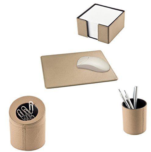 Handmade Made in Germany Schreibtischzubehör-Set 4-tlg. Farbe sand, aus genarbtem Rindnappaleder excl. Marke EuroStyle