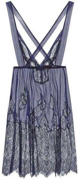 Myla Ornamental Lace Navy Lace Babydoll   Nightwear in Blue (Navy)
