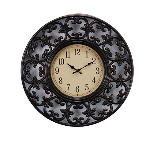 Kiera Grace Leon Wall Clock 11 Inch 1 5 Inch Deep Brushed Bronze With Images Wall Clock Clock Silver Wall Clock
