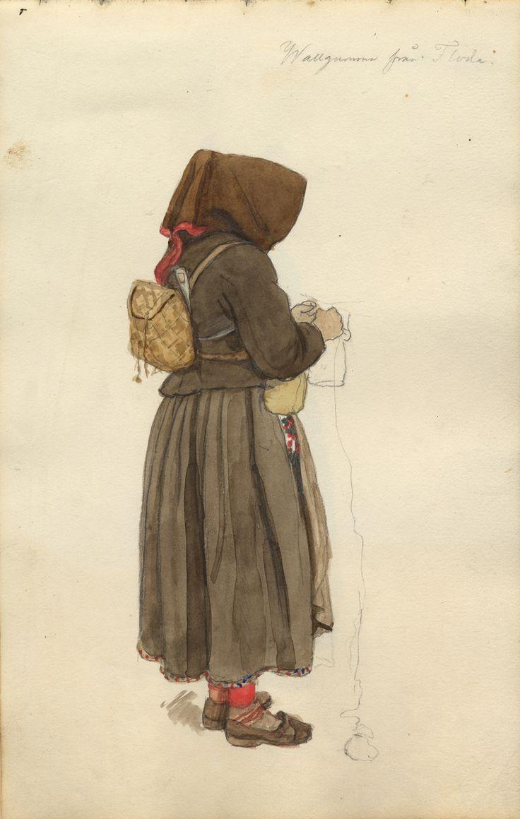"""Akvarell."""" Wallgumma från Floda""""  sedd bakifrån. Näverkont på ryggen. Ur Skissbok av A. J.G. Virgin"""