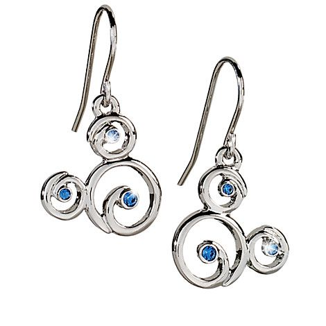[Swirl season]Blue Swarovski crystals highlight these filigree Mickey Mouse earrings. Created by the renowned Arribas Brothers, these elegant earrings will add glamour to your trip to the Park.