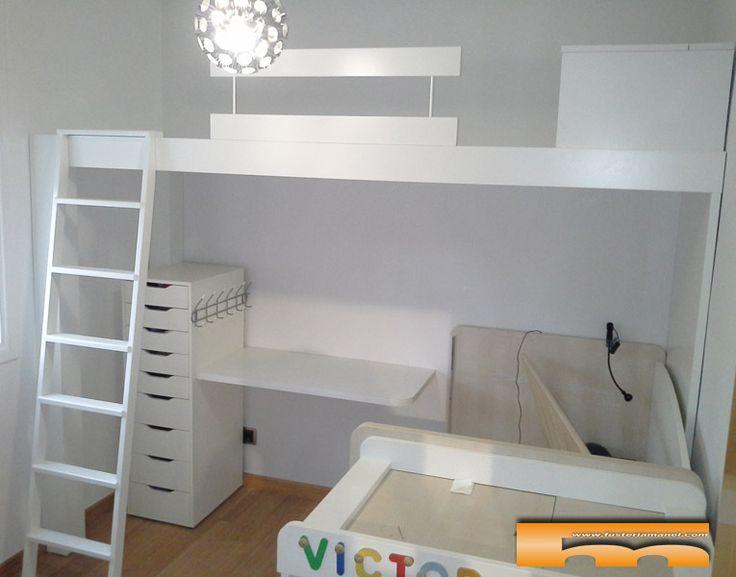 Cama alta a medida para habitacion infantil compartida con - Medidas camas infantiles ...