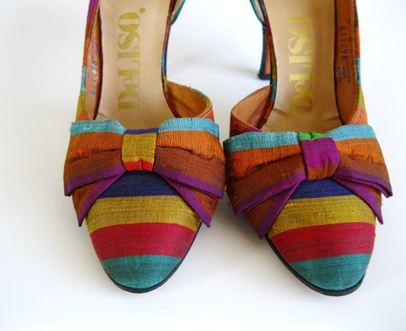 Sale 1950s Heels Size 6 Shoes Rainbow Bows Spring by gogovintage, $54.00