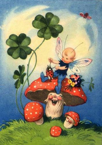 SweeeeT fairy with his Good Luck clover, Happy (!!!) fly agaric mushrooms & ladybugs!