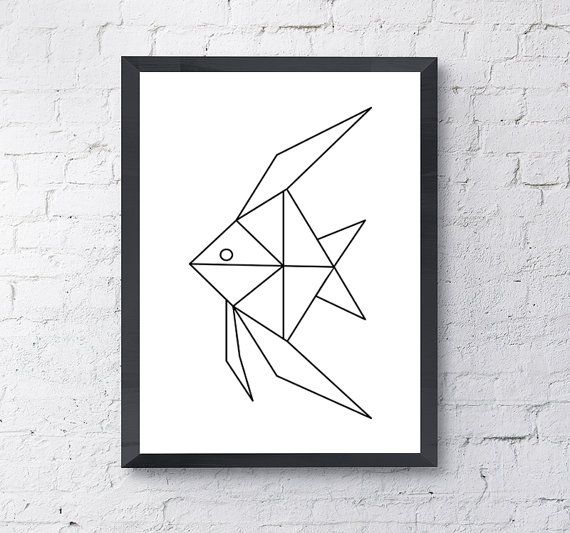Angel Fish Geometric Origami Print Poster// Black and White Home Decor Print // Minimalistic Wall Art
