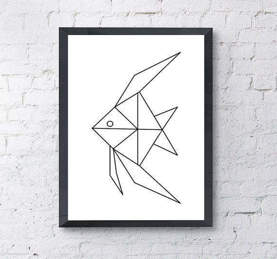 Angel pez Origami geométrico impresión cartel por PrintHappyStudio
