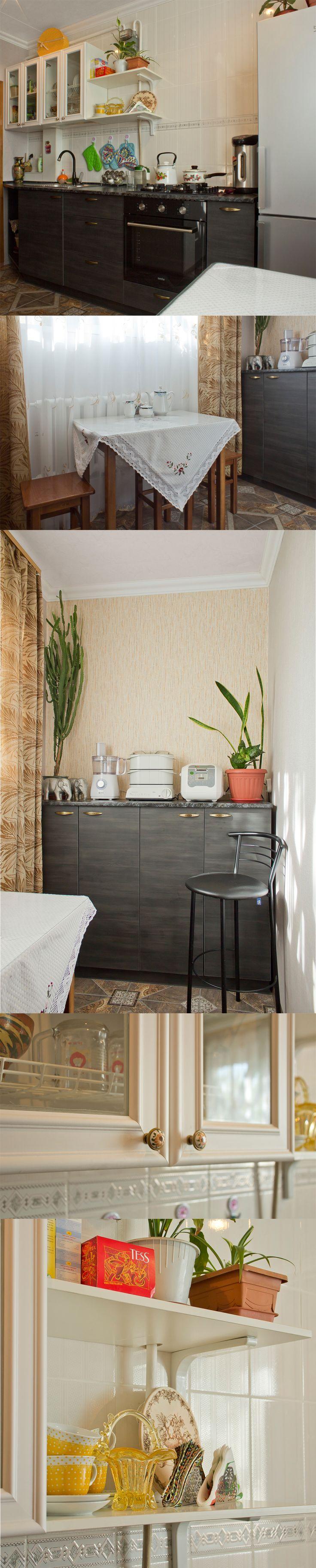 Белый верх, черный низ Вместительная и удобная, визуально легкая и стильная Г-образная кухня площадью 8,5 кв. м