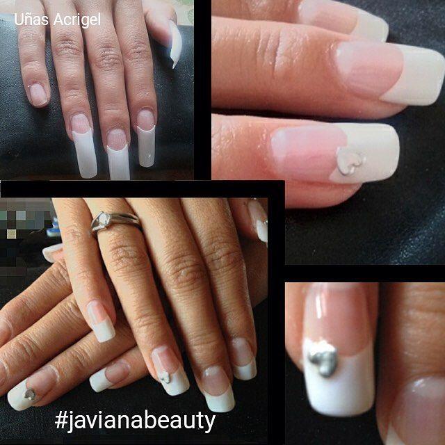 Uñas Acrigel con tip francesa y aplicación de corazones #uñasdecoradas #nailsinstagram #uñas #javianabeauty #nails #nailsgel #uñaslindas.